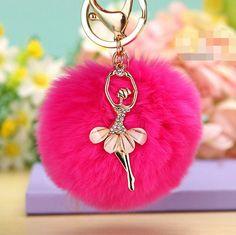 New rabbit fur ball keychain Bag Pendant Fur Ball Plush Ballet Girl Key chain Metal Key Holder Rabbit