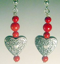 Everyday Chic Silver Heart Red Marble Earring by AGreenWoods on Etsy