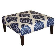 Kristine Upholstered Ottoman Diamond - Blue