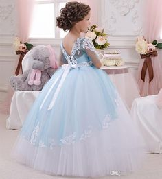 2016 NEW Baby Princess Flower Girl Dress Lace Appliques Wedding Prom Ball Gowns Birthday Communion Toddler Kids TuTu Dress