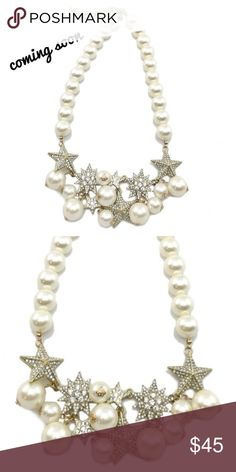 Gorgeous pave star and pearl statement necklace COMING SOON Stunning statement necklace! Faux pearl and pave star necklace. 18k gold plated with lobster clasp. Nickel and lead free. ❤This necklace is a must for every closet! ❤ ⭐️Make an offer ⭐️ Jewelry Necklaces