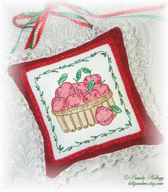 Apple Basket Door Hanging Pillow Hand Embroidery by Kittyandme, $27.95