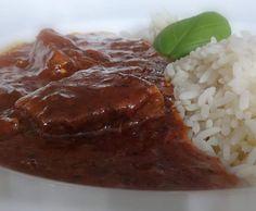 Rezept kräftiges Rindergulasch mit Reis von Fett-For-Fun-Thermi - Rezept der Kategorie Hauptgerichte mit Fleisch