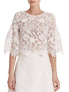 Alexis - Valery Lace Bell-Sleeve Cropped Top