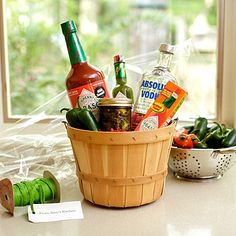 Bloody Mary gift basket... awesome Christmas gifts and its red & green!