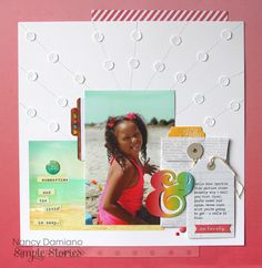 #papercraft #scrapbook #layout. Sparkle - Scrapbook.com - Made with the Simple Stories Good Day Sunshine collection.