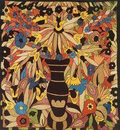 design by Anna Lesznai Textile Design, Anna, Art Nouveau, Folk, Textiles, My Favorite Things, Flowers, Painting, Image