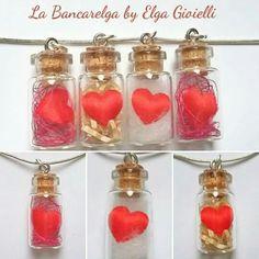 """Ciondoli cuori di stoffa in bottiglia di vetro  Visita la pagina Facebook """"La Bancarelga by Elga Gioielli"""" Remember to like on my Facebook page """"La Bancarelga by Elga Gioielli""""  https://www.facebook.com/LaBancarelga/  #gioielli #jewels #fattoamanoinitalia #fashion #handmade #madeinitaly #artigianato #madewithlove #madewithlove #fashion #pezziunici #pezziunicirealizzatiamano #ciondolo #necklaces #necklace #pendant #ciondoli #cuori #cuoricini #love #amore #heart #rosso #red #redheart #cuore…"""