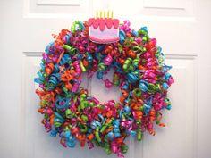 Happy Birthday Curly Ribbon Wreath by APinkLemonadeDesigns on Etsy, $40.00