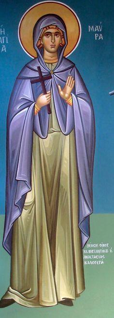 Maura by Maria Hatjivasiliou Byzantine Icons, Byzantine Art, Religious Images, Religious Art, Religious Paintings, Art Icon, Catholic Saints, Believe In God, Orthodox Icons
