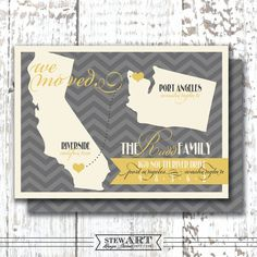 Personalized MOVING ANNOUNCEMENT Printable Postcard Digital Design - Moving Map