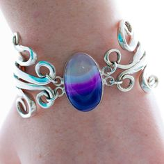 Vintage Spoon Bracelet Lace Agate Bracelet Fork by mcfmiller, $75.00