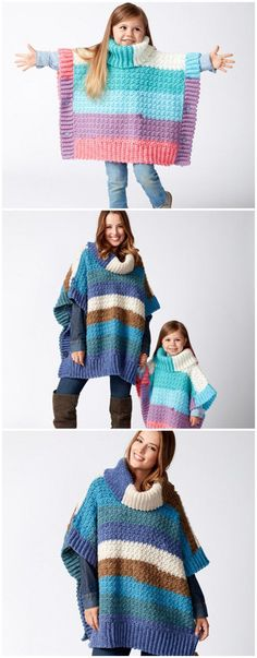 Baby Knitting Patterns Poncho Mom and Me Crochet Ponchos Baby Knitting Patterns, Kids Poncho Pattern, Crochet Poncho Patterns, Coat Patterns, Crochet Shawl, Sweater Patterns, Free Pattern, Crochet For Kids, Crochet Baby