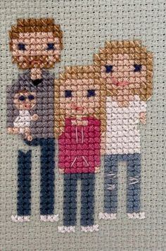 Cross Stitch Family, Thread Art, Pebble Art, Cross Stitching, Needlepoint, Couture, Decoupage, Crafty, Embroidery Ideas