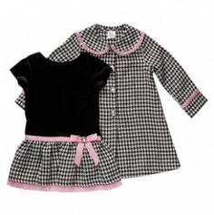 Toddler Houndstooth Dress and Coat Set - Youngland Dresses - Events Little Girl Dresses, Girls Dresses, Baby Dresses, Dress Girl, Bridesmaid Dresses, Little Girl Fashion, Kids Fashion, Super Moda, Kids Clothes Storage