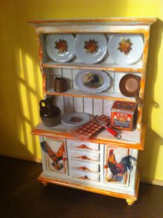 Dollhouse Miniature Hutch Free Shipping by miniaturemondo on Etsy, $38.99