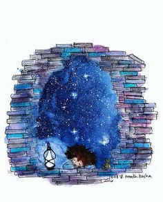 Sleeping girl surrounded by books and starry night sky illustration Art And Illustration, Illustrations, Doodle Drawings, Cute Drawings, Forever Book, Whimsical Art, Cute Art, Amazing Art, Book Art