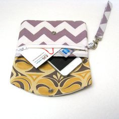 iPhone Wristlet Phone Wallet  Grey Taupe Chevrons by LMcreation