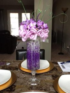 57 new ideas diy wedding reception centerpieces silver Purple Wedding Centerpieces, Silver Centerpiece, Party Centerpieces, Diy Wedding Decorations, Purple Wedding Decorations, Centerpiece Ideas, Reception Decorations, Dollar Store Centerpiece, Centerpiece Flowers