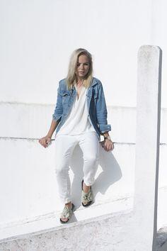 Denim jacket, white wrap shirt, jeans + pool slides | Tao of Sophia | @styleminimalism