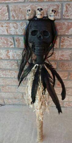 Voodoo or Witch Doctor Septre. Halloween Prop, Doctor Halloween, Voodoo Halloween, Couples Halloween, Outdoor Halloween, Halloween Projects, Holidays Halloween, Halloween Themes, Halloween Makeup