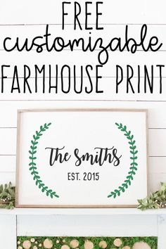 This adorable free established family sign is free to customize with your own last name and established year. It's full of fixer upper style. Fixer Upper Style, Sign Fonts, Established Family Signs, Family Wall Art, Family Room, Sign Stencils, Letter Stencils, Name Wall Art, Family Name Signs
