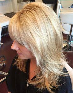layered blonde haircut for medium hair