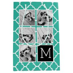 Emerald Black Instagram 5 Photo Collage Monogram Medium Gift Bag, upload your own photos to personalize and create a unique gift bag!