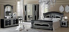 Black and Silver Bedroom Set. Black and Silver Bedroom Set. Aida Black W Silver Camelgroup Italy Classic Bedrooms Black And Silver Bedroom, Black Bedroom Sets, Bedroom Sets For Sale, King Size Bedroom Sets, Black Bedroom Furniture, Modern Bedroom, Black Silver, Master Bedrooms, Modern Beds