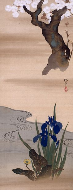 Triptych of Flowers and Rising Sun, by 酒井抱一 Sakai HOITSU (1761–1828), after 1824