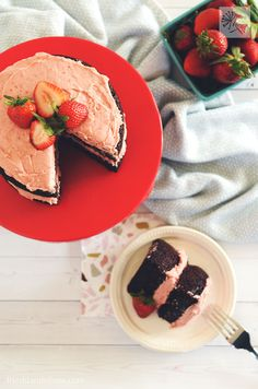 This vegan Chocolate Birthday Cake with Strawberry Buttercream Frosting is sure to be a hit with party goers from 1 to 100!  Rich, moist, and full of flavor...plus so easy to make! #vegan #birthdaycake #chocolatecake