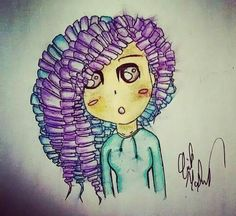 Curly haired girl drawing