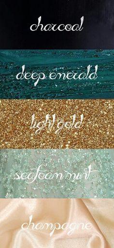 Charcoal Emerald Gold Seafoam Mint Champagne 2020 - wedding colorado wedding colors wedding colors and themes wedding . Trendy Wedding, Dream Wedding, Wedding Day, Colour Schemes, Wedding Color Schemes, Wedding Colors Teal, Champagne Wedding Colors Scheme, Teal Gold Wedding, Wedding Colour Palettes
