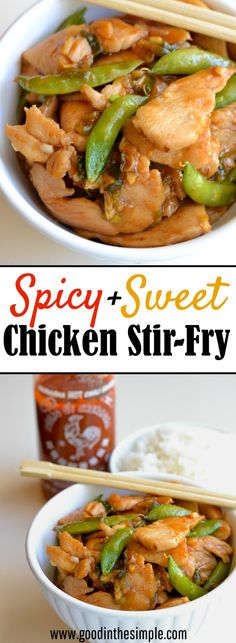 "A sauce made from sriracha, honey, soy sauce, ginger, garlic, and a few other simple ingredients give this Asian Chicken Stir-Fry the perfect balance of flavor. It's quick, easy, and SO, SO good! Plus, learn how to quickly ""velvet"" your chicken to create restaurant-style stir-fry texture."