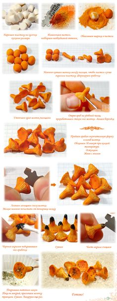 Chanterelle mushrooms - a lesson: polymerclayfimo