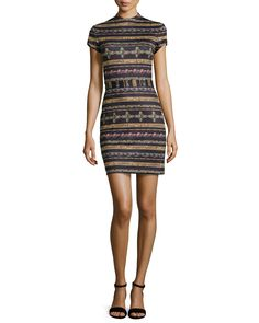 Jewel-Print Stripe Mini Dress, Black Multi