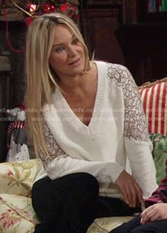 Sharon's white v-neck sweater with lace sleeves on The Young and the Restless.  Outfit Details: https://wornontv.net/54939/ #TheYoungandtheRestless