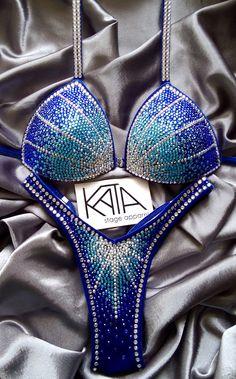 KATA Stage Apparel — ARIELLA Figure/Physique competition suit blue ombre