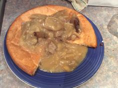 The best way of using up leftover meat and gravy from the roast. Bake a large yorkshire pudding (this is a gluten and dairy free one) and enjoy. Dairy Free Recipes, Gravy, Yorkshire, Free Food, Roast, Gluten, Pudding, Meals, Baking