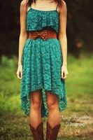 casual country bridesmaid dress idea blue lace dress with brown belt – Google Search
