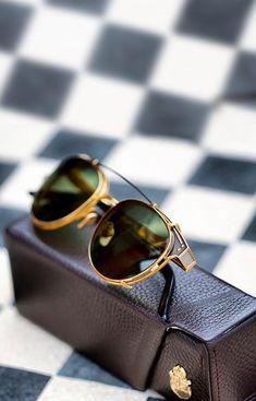 "anbenna: """"Oxford"" gold Shades with clip-on "" Dapper Gentleman, Gentleman Style, Optical Glasses, Mens Glasses, Gold Price, Girls Wear, Stylish Men, Eyeglasses, Eyewear"