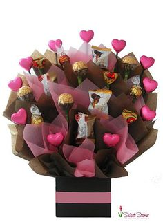 Sweets For My Sweet Chocolate Bouquet - Florist Sydney Australia delivers flowers and gifts to Sydney area homes, businesses, churches, hospitals, schools anywhere in Sydney metro and suburbs Bouquet Cadeau, Gift Bouquet, Candy Bouquet, Boquet, Valentine Bouquet, Valentine Gifts, Bouquet St Valentin, Chocolate Flowers Bouquet, Birthday Sweets