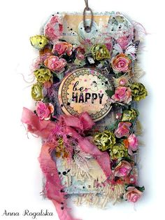Scraps of Elegance scrapbook kits: Anna Rogalska created this gorgeous pink shabby chic / mixed media tag, perfect for Spring, with our Jan. Adore kit. Subscribe to our kits and receive a new box of mixed media scrapbooking fun delivered to you each month.