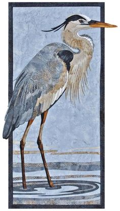 Great Blue Heron applique quilt pattern by Toni Whitney Design features a gorgeous great blue heron bird walking amid the shallow waters. The pattern is designed for raw edge fusible applique, so I re Vogel Illustration, Vogel Silhouette, Vogel Quilt, Applique Quilt Patterns, Pattern Fabric, Bird Quilt, Animal Quilts, Landscape Quilts, Watercolor Bird
