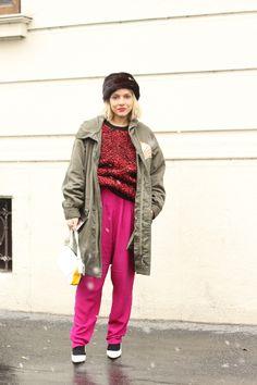 #jumper #hat #pink #kaki #fashion #mode #moda #women #paris #look #streetstyle #streetview #street #style #offcatwalk on #sophiemhabille