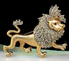 "VTG PHILIPPE TRIFARI LION ""KING OF THE JUNGLE"" FIGURAL RHINESTONE BROOCH PIN"