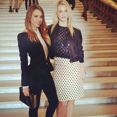 Jessica Alba posed with her friend Kelly Sawyer at the Stella McCartney Fall 13 runway show in Paris.