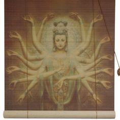 Oriental Furniture Thousand Arm Kwan Yin Bamboo Roller Blind