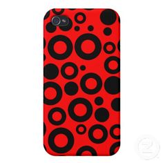 Black and Red Polka Dots Pattern Covers For iPhone 4 Cool Iphone Cases, Iphone 4, Iphone Case Covers, Create Your Own, Polka Dots, Cool Stuff, Red, Pattern, Black