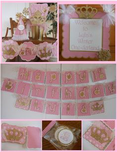 Pink and Gold Snow Princess 1st Birthday Party Package